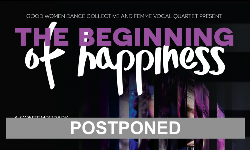 Purple and white text against a black background reads: The Beginning of Happiness Postponed