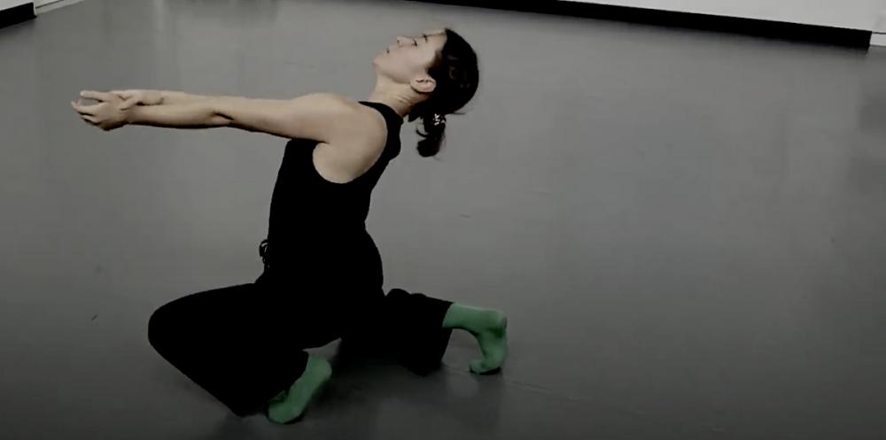 Kyra Newton mid-performance